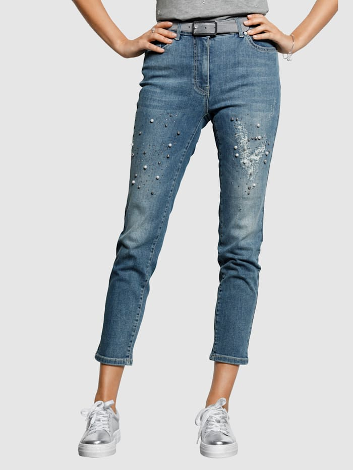 MONA Jeans with decorative faux pearls, Blue