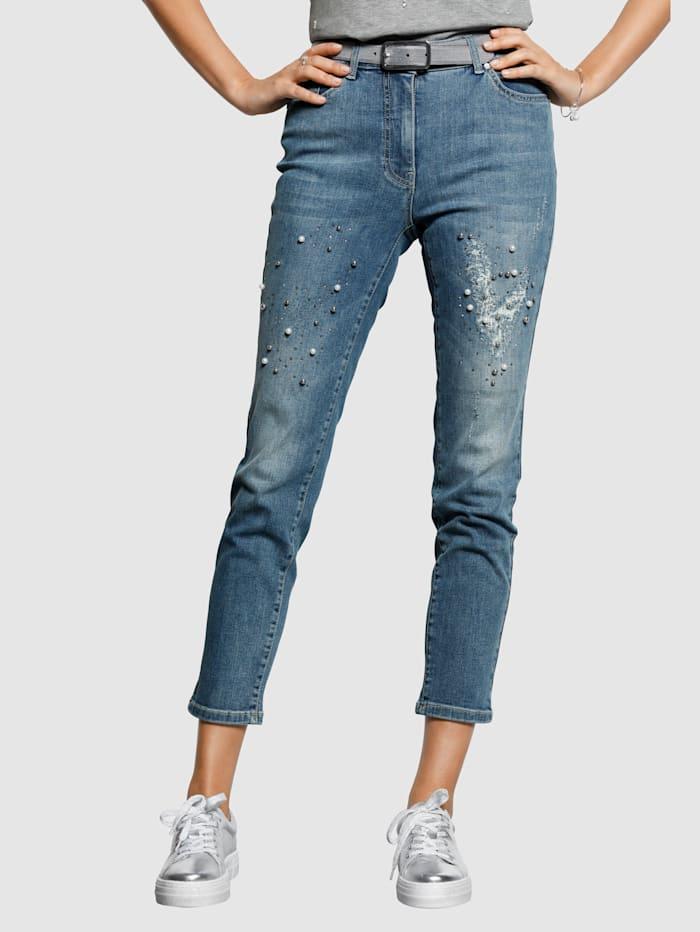MONA Jeans mit Perlenzier, Blau