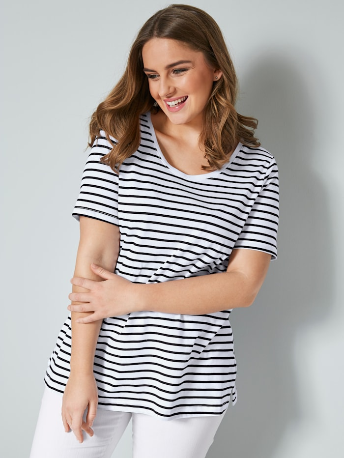 Janet & Joyce Shirt gestreift, Schwarz/Weiß
