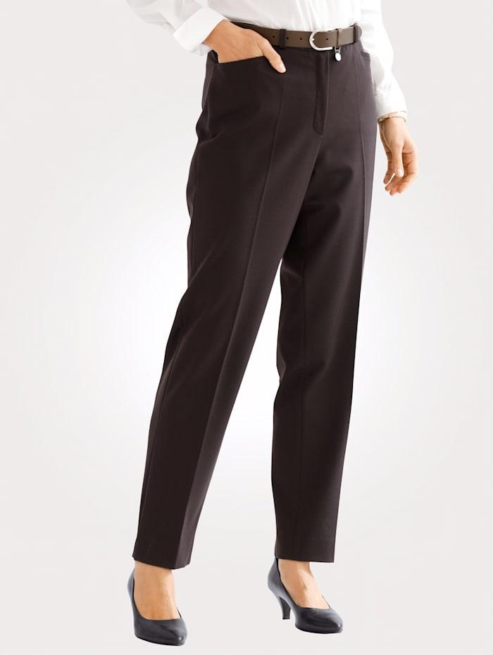 MONA Pantalon en matière stretch, Marron