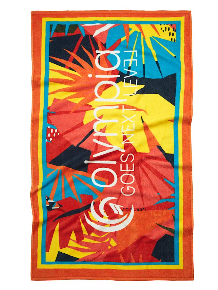 Olympia Strandtuch mit Logoprint, Gelb/Multicolor