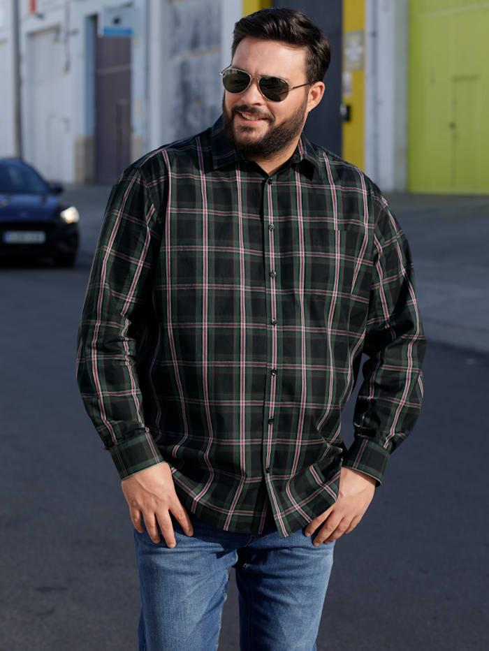 Men Plus Hemd aus reiner Baumwolle, Schwarz/Tannengrün