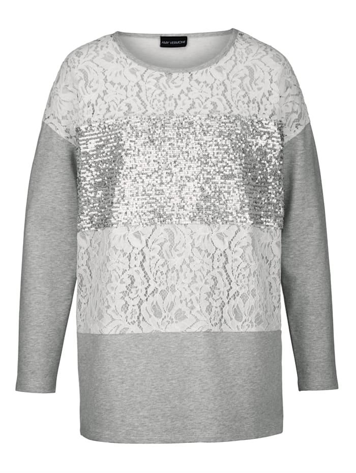 Sweatshirt mit Pailletten und Spitzeneinsatz