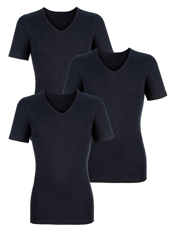 HERMKO Unterhemden im 3er-Pack, Marineblau