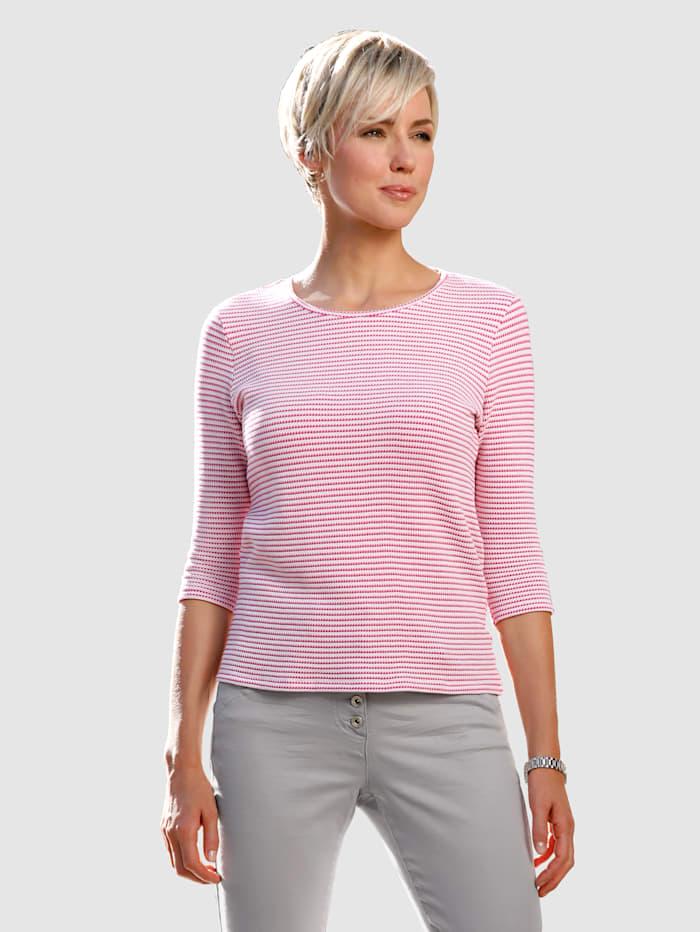 Dress In Shirt in Strukturqualität, Pink/Rosé/Ecru