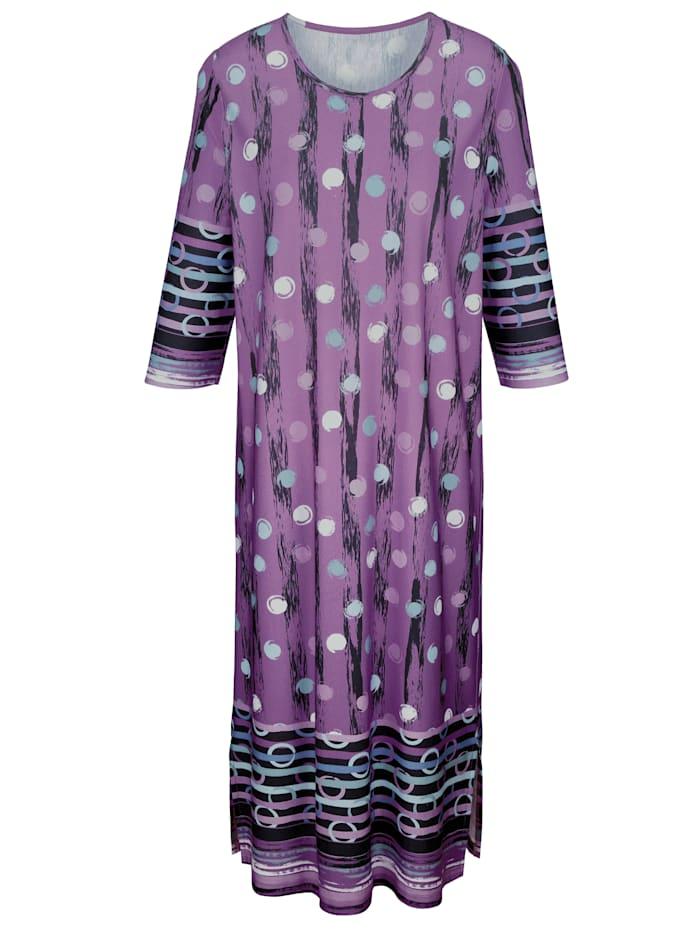 Harmony Hauskleid mit Bordürendruck, flieder/marine/mint