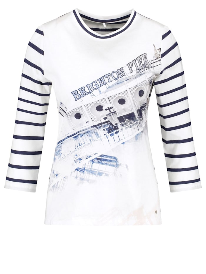 Gerry Weber 3/4 Arm Shirt mit Mustermix organic cotton, Ecru/Weiss/Blau Patch