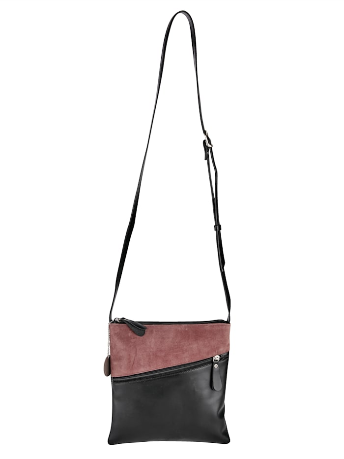 Vamos Umhängetasche aus hochwertigem Leder, Altrosa/Schwarz