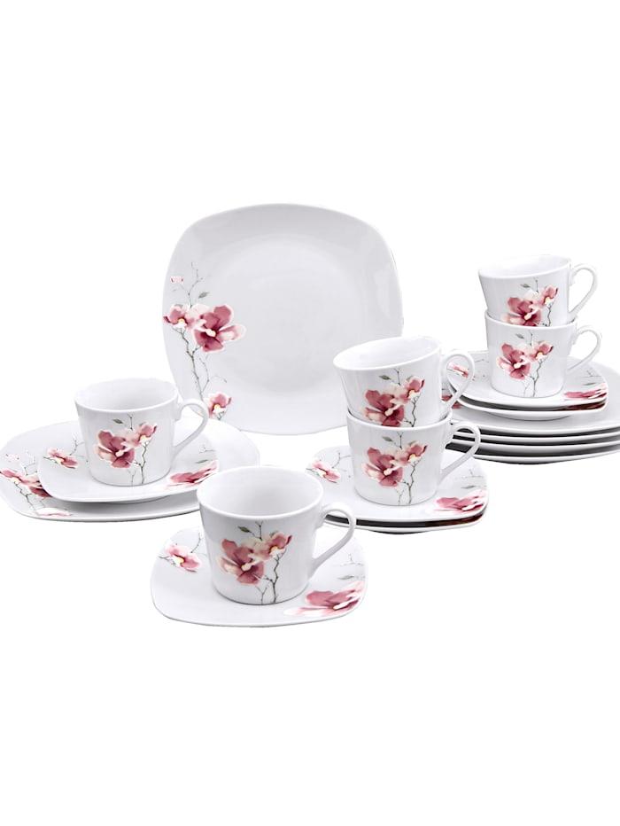 Creatable 18-d. kávová súprava ´Aiko´, biela/ružová