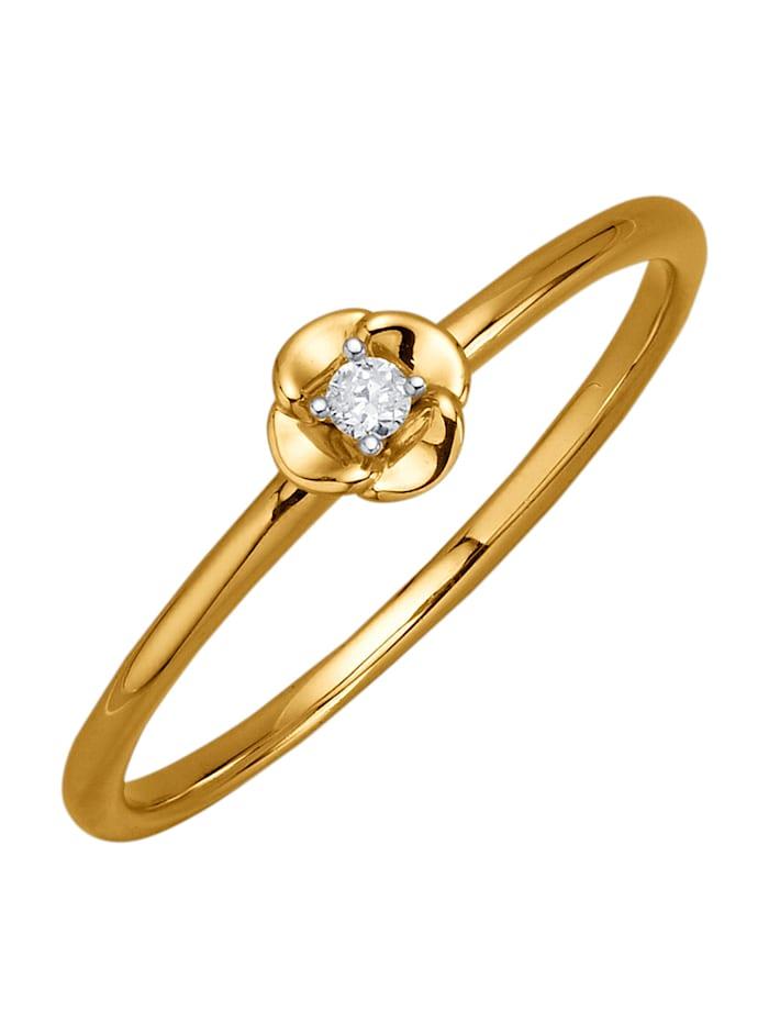 AMY VERMONT Damesring met diamant, Geelgoudkleur