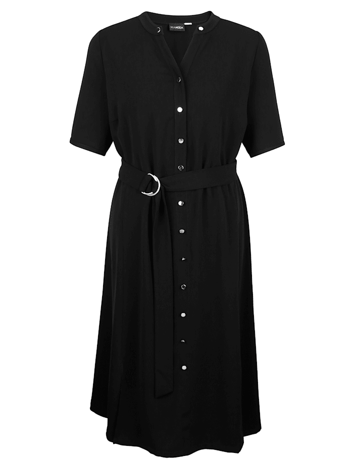 MIAMODA Kleid mit Bindegürtel, Schwarz