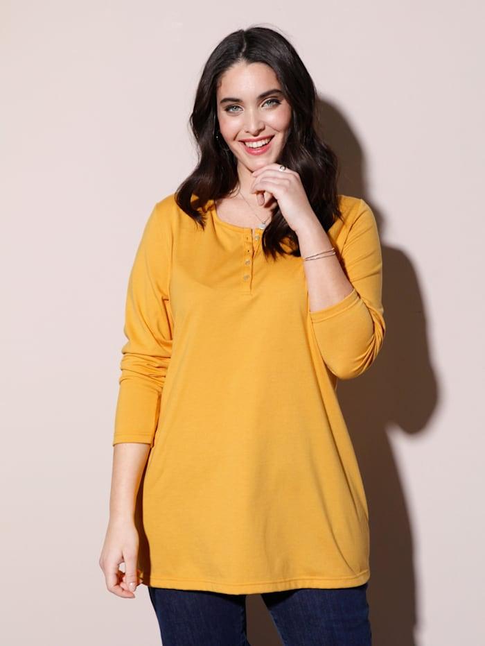 MIAMODA Shirt mit dezenter Knopfleiste am Ausschnitt, Gelb