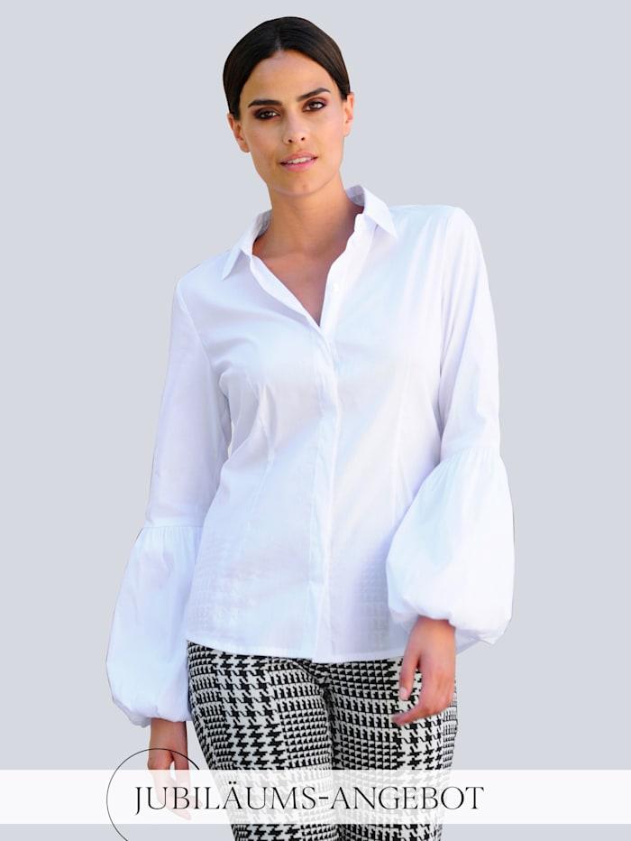 Alba Moda Bluse mit modischer Ärmelform, Weiß