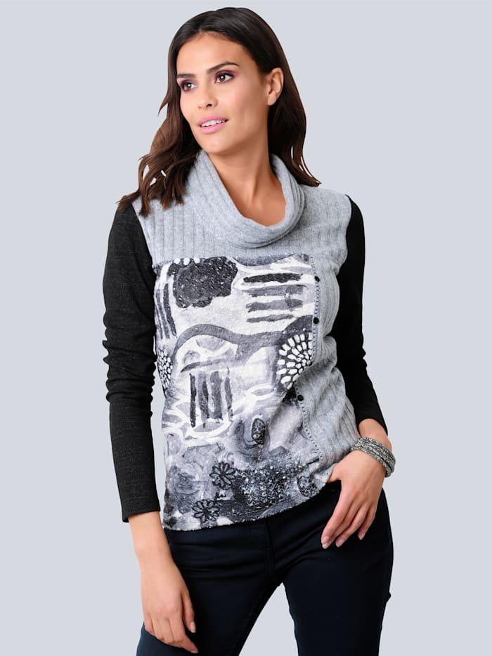 Alba Moda Shirt mit locker fallender Kragenlösung, Schwarz/Grau