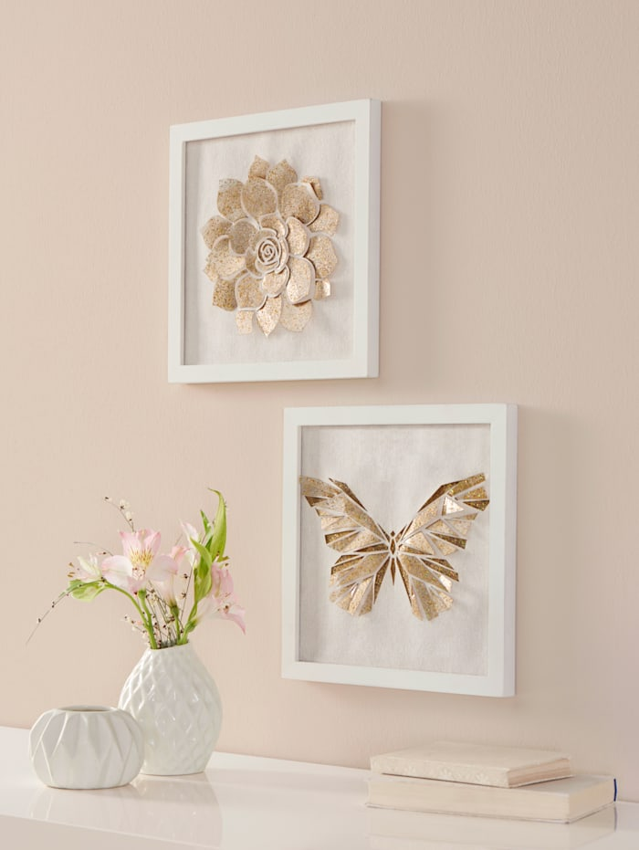 Lot de 2 tableaux 3D, Coloris or