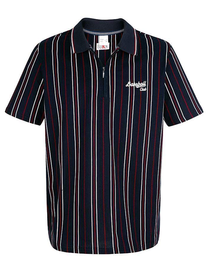 Roger Kent Poloshirt mit Druckmuster rundum, Marineblau