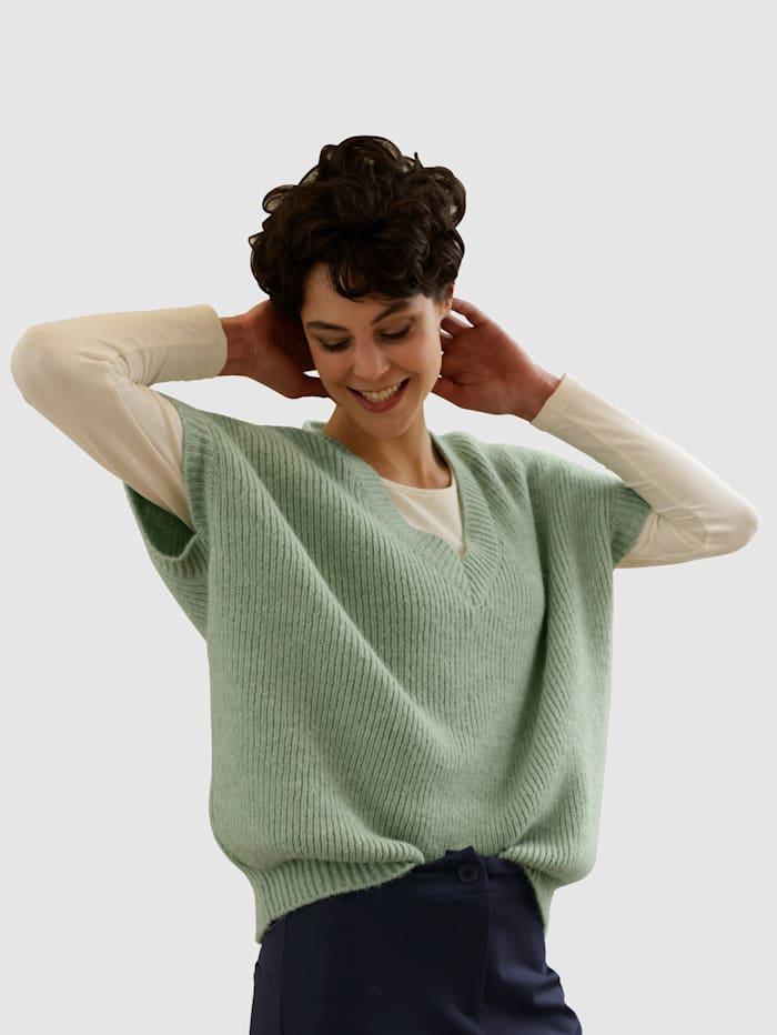 Dress In Pullunder mit V-Ausschnitt, Salbeigrün
