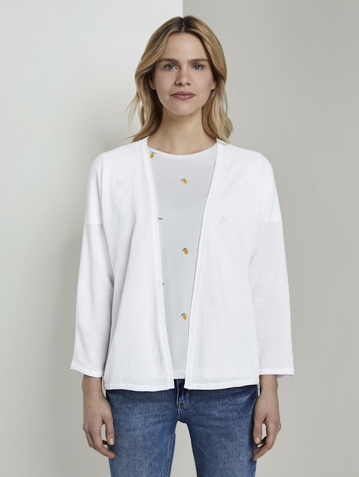 Tom Tailor Cardigan im Loose Fit, Whisper White