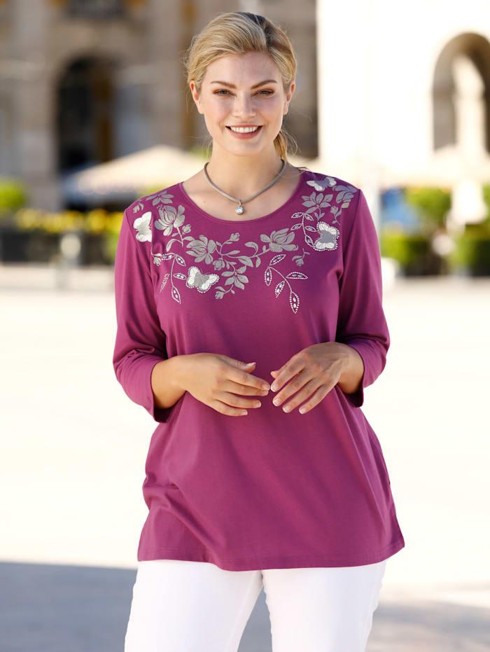 m. collection Shirt met glitterprint langs de hals, Fuchsia