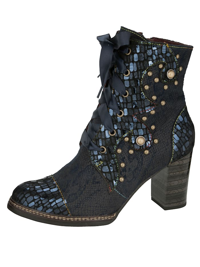 Laura Vita Lace-up Boots in a wonderful material mix, Navy