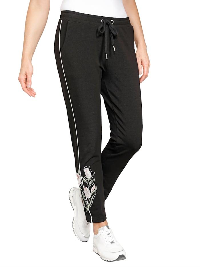 MONA 7/8-jogpants met borduursel, Zwart/Ecru