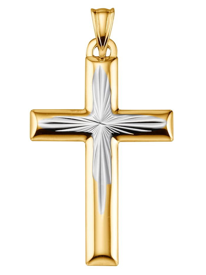 Pendentif croix bicolore, Jaune