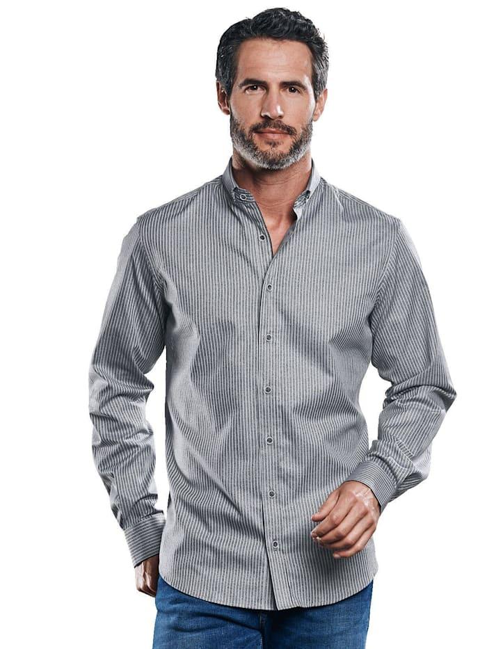 Engbers Gestreiftes Hemd aus softer Baumwolle, Anthrazit