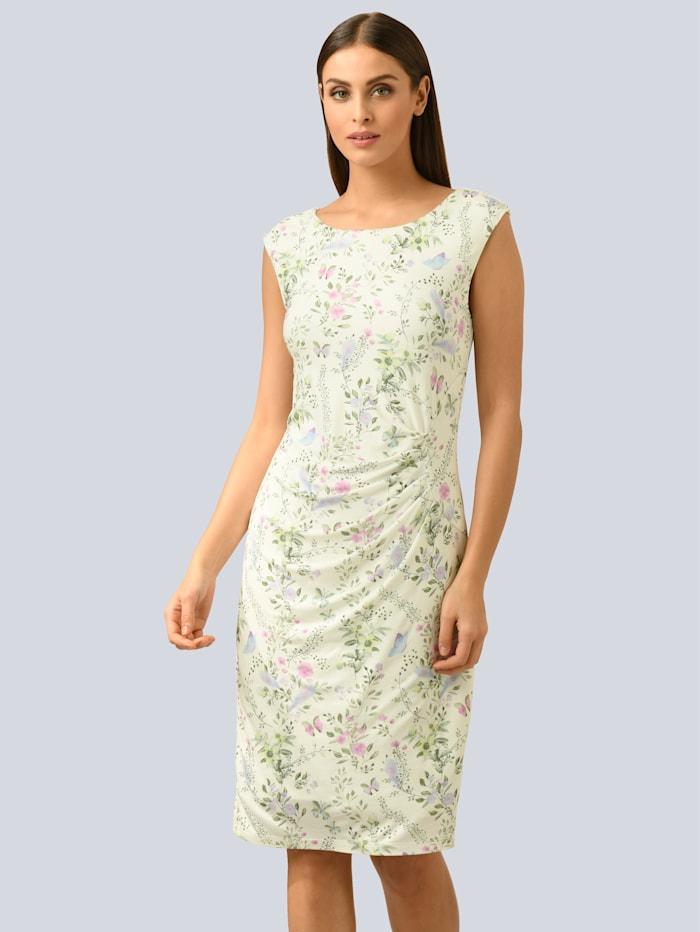 Alba Moda Kleid im allover Blumendruck, Weiß/Rosé/Hellblau/Hellgrün