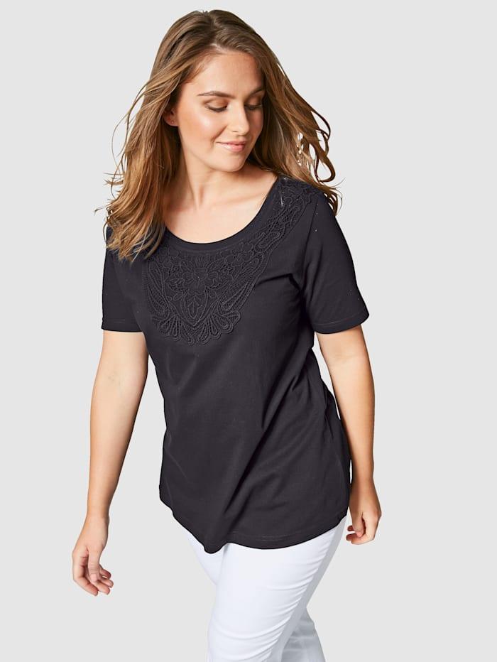 Janet & Joyce Shirt mit Spitze im Vorderteil, Schwarz