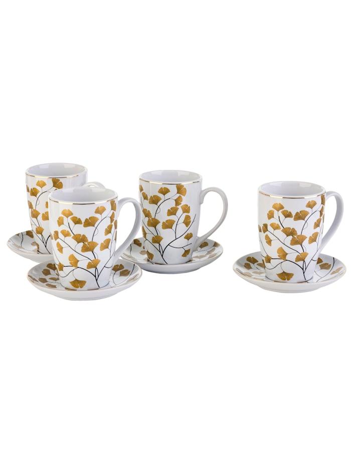 Kaffeebecher mit Untertasse, 8-tlg., Ginkgo