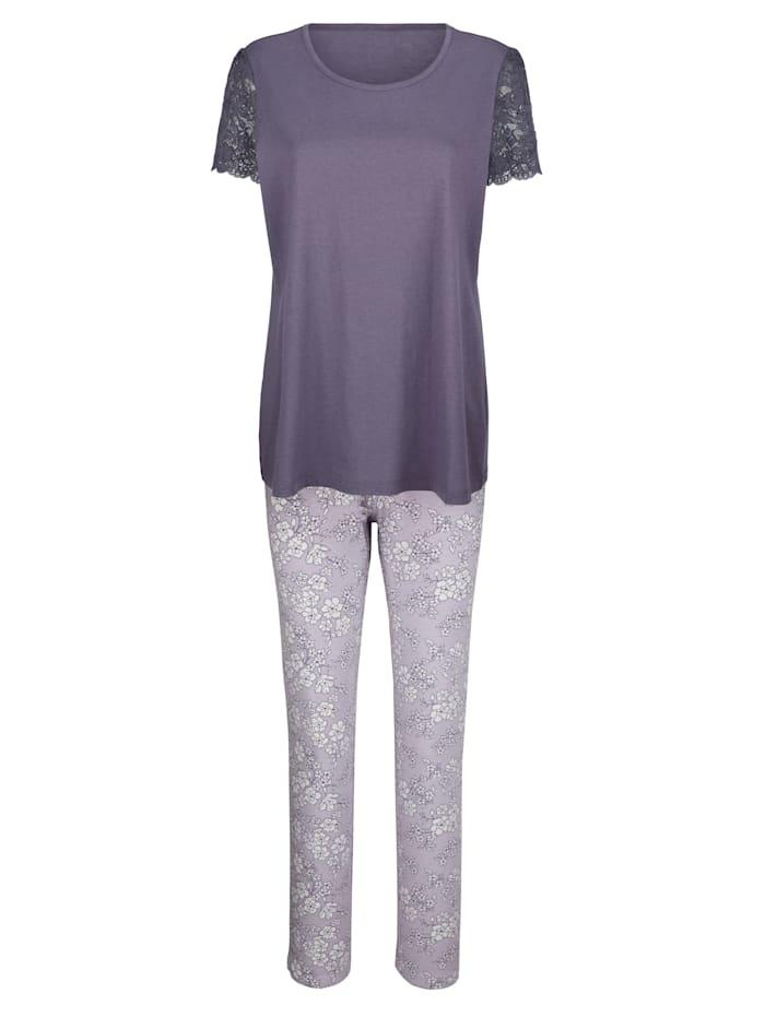 Blue Moon Pyjamas av ekologisk bomull, Syren/Malva/Benvit