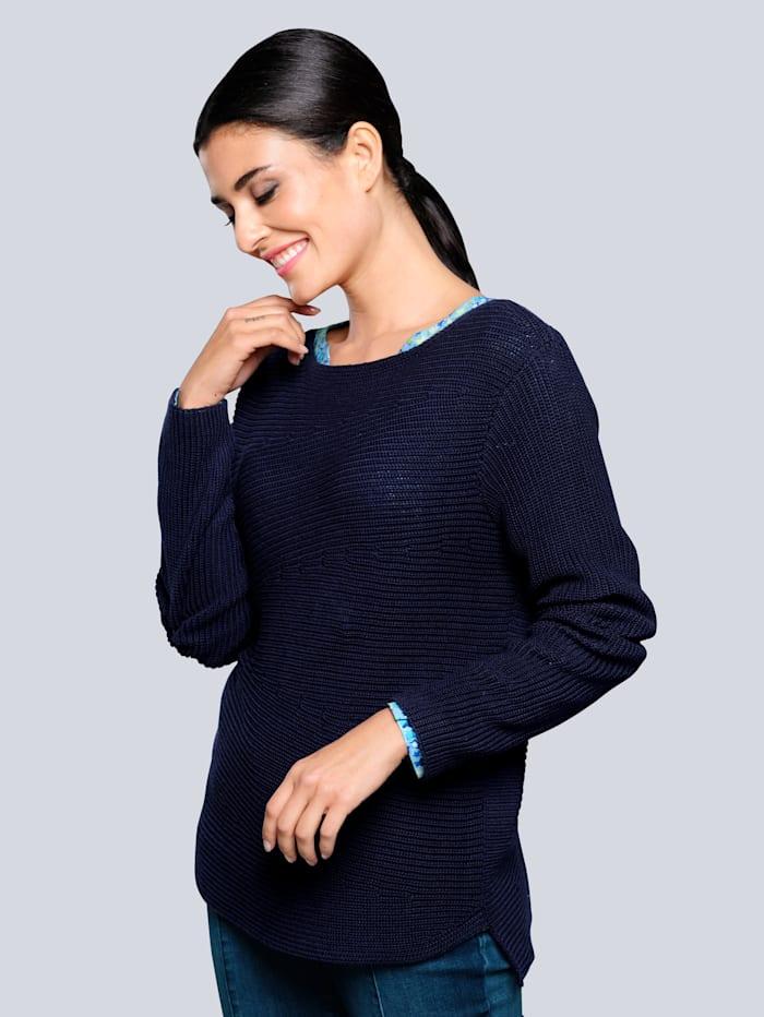 Alba Moda Pullover mit raffinierten Minderungen im Strickbild, Marineblau