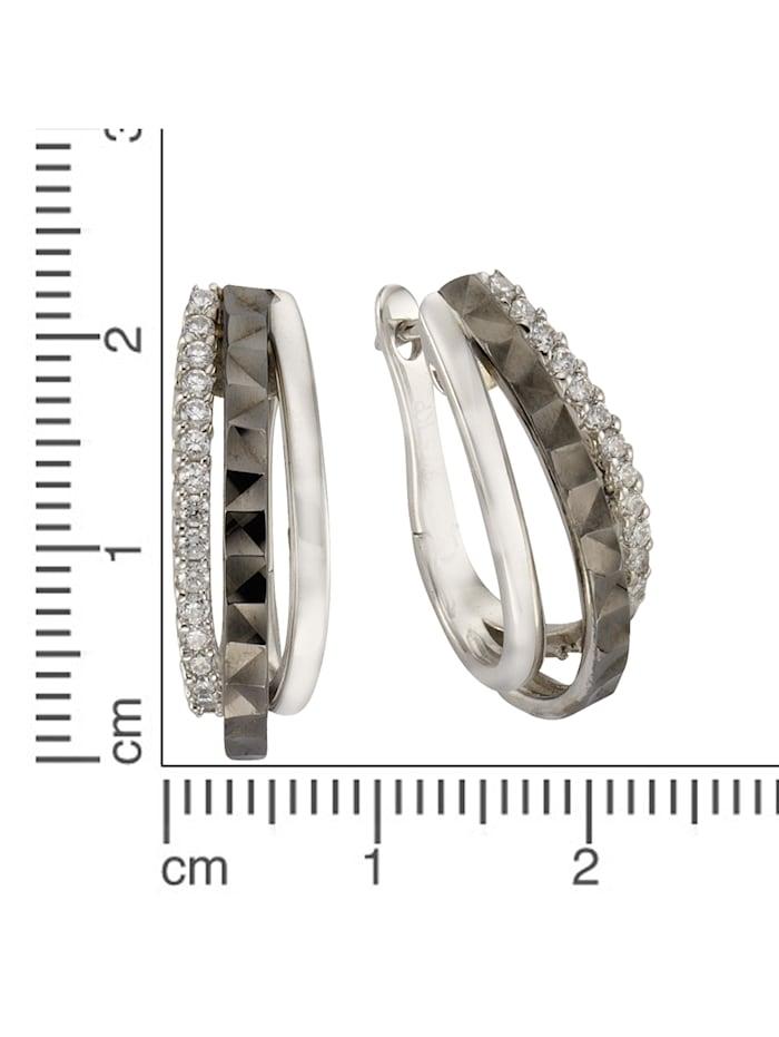 Creolen 925/- Sterling Silber Zirkonia weiß 2,2cm Glänzend 925/- Sterling Silber