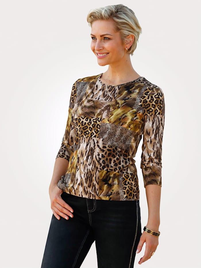 Barbara Lebek Shirt in Jersey-Qualität, Braun/Gelb