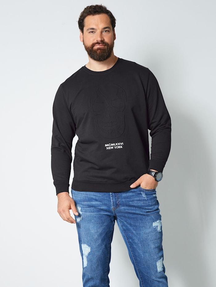 Men Plus Sweatshirt mit 3D Print, Schwarz