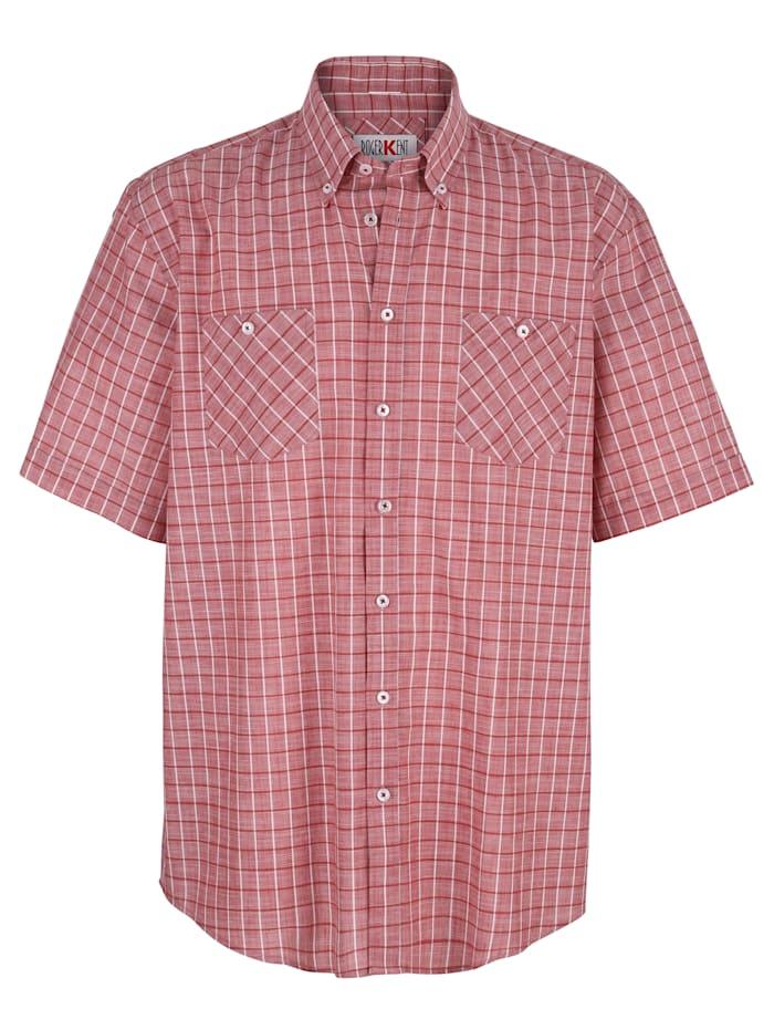 Roger Kent Hemd mit garngefärbtem Karomuster, Rot