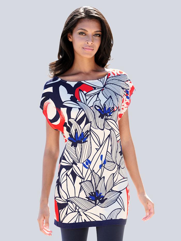 Alba Moda Shirt mit Artwork-Druck, blau-rot