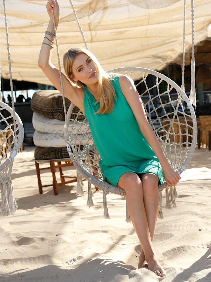 Maritim Strandkleid Mit dekorativen Raffungen am Ausschnitt, Grün