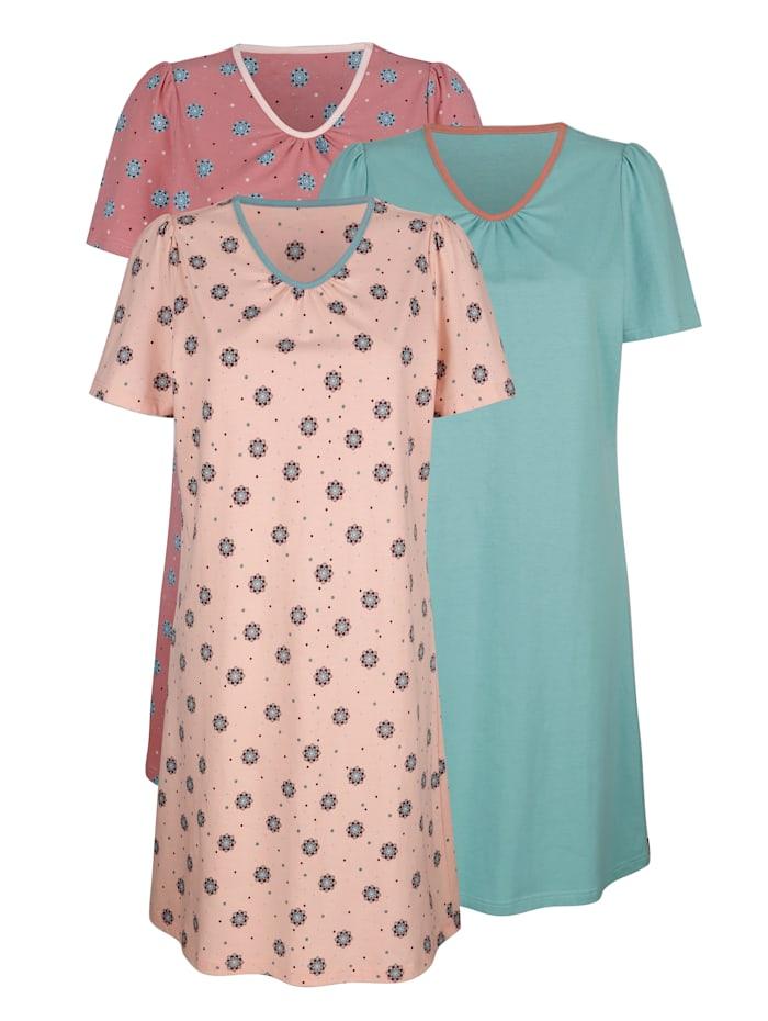 Blue Moon Nachthemden per 3 in trendy kleurencombinaties, Nude/Rozenhout/Jadegroen
