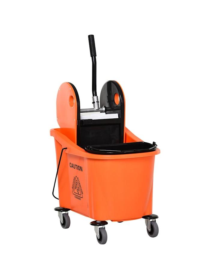 HOMCOM Putzwagen mit Auswringvorrichtung, schwarz, orange