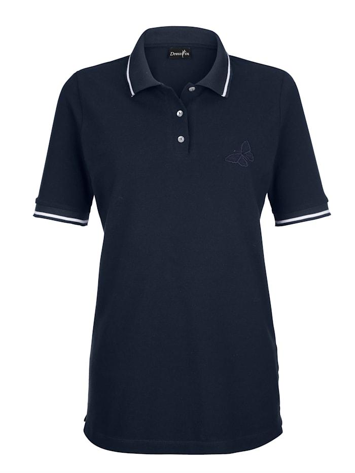Dress In Poloshirt mit Stickerei, Marineblau