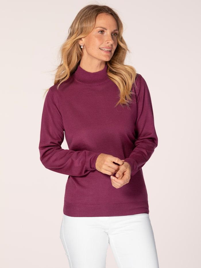 MONA Stehbund-Pullover mit Merino-Schurwolle, Fuchsia