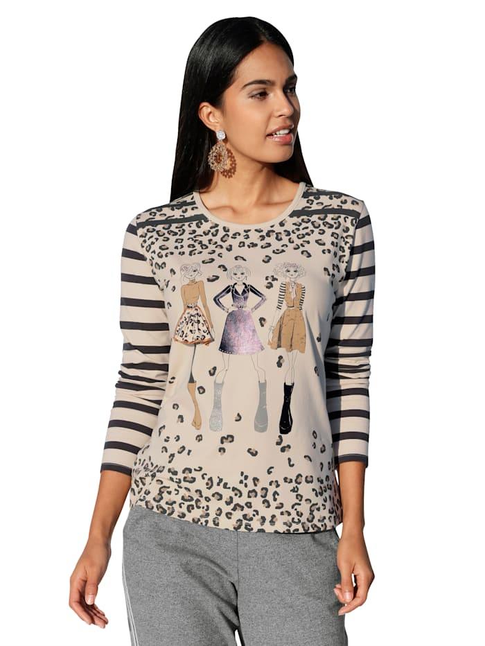 Betty Barclay Shirt mit Strasssteinen im Vorderteil, Grey/Creme-Weiß