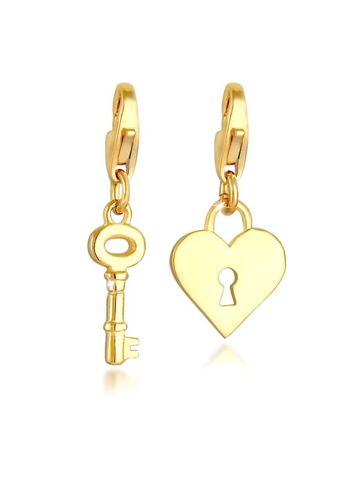 Nenalina Charm Schloss Schlüssel Herz Liebe 2Er Set 925 Silber, Gold