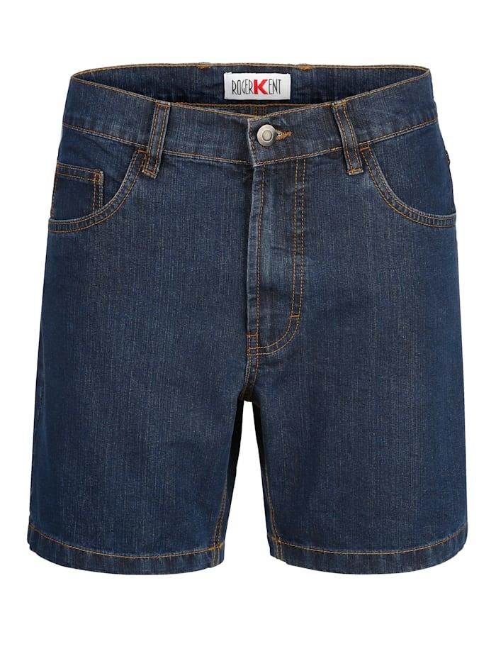 Roger Kent Jeansshorts i 5-ficksmodell, Blue stone