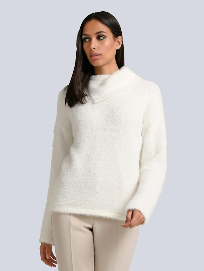 Alba Moda Pullover in effektvollem Flauschgarn, Off-white
