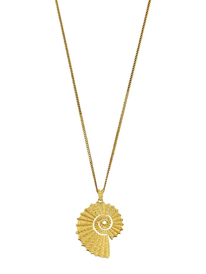 Ursula Christ Ammonit-Anhänger mit Kette mit Saphir, Gelbgoldfarben