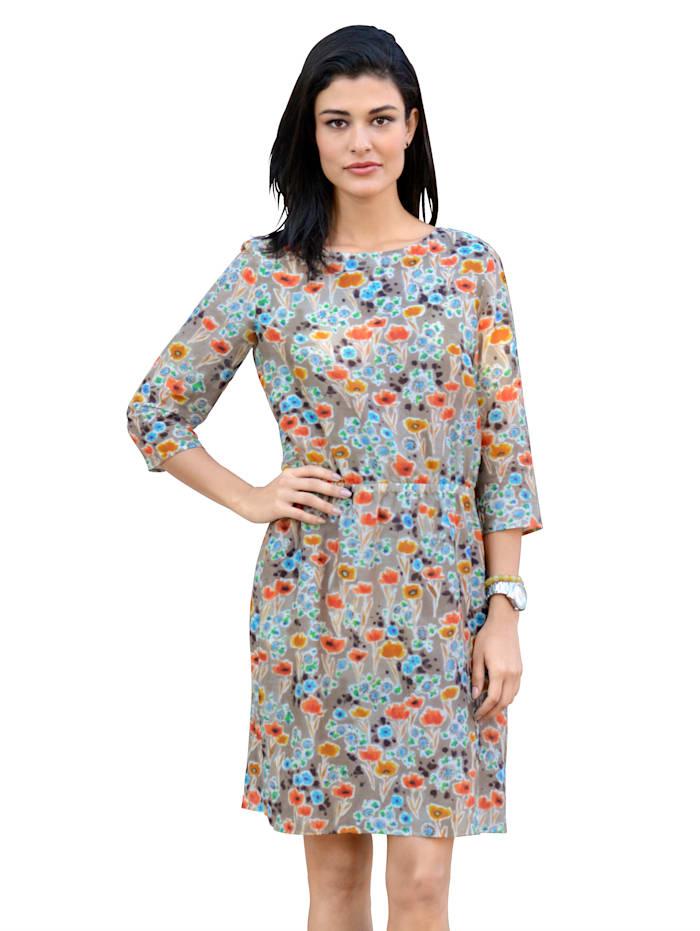 Alba Moda Dress floral pattern, Grey/Orange