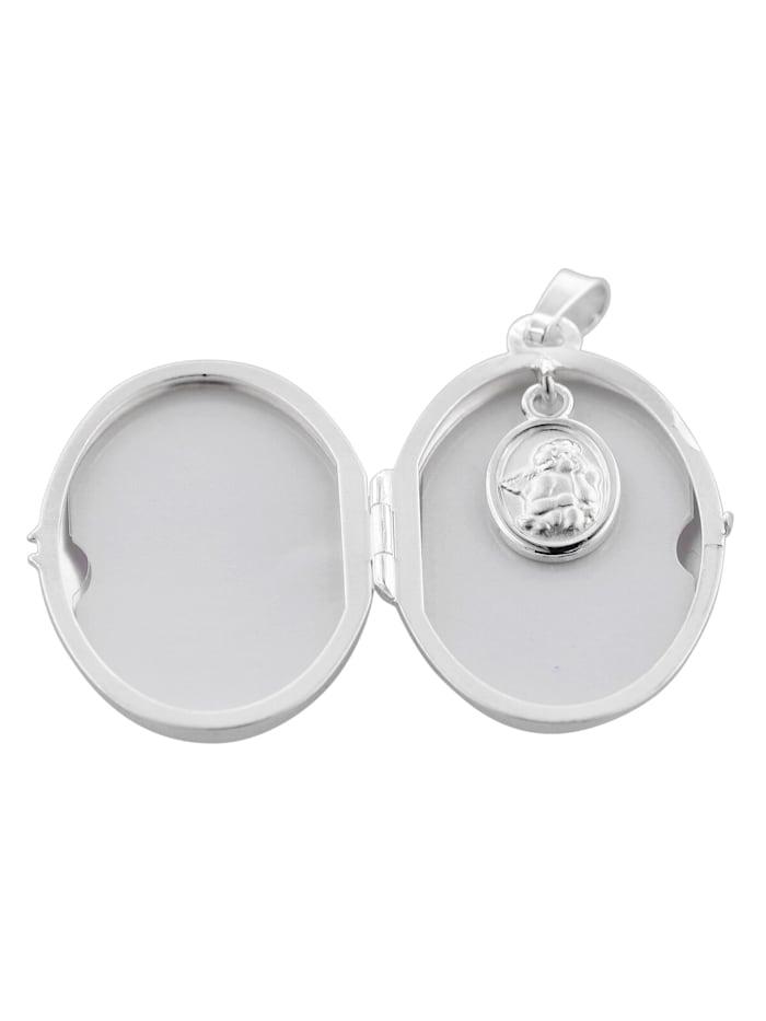 trendor Medaillon mit Engel-Einhänger und Halskette Silber 925, Silberfarben