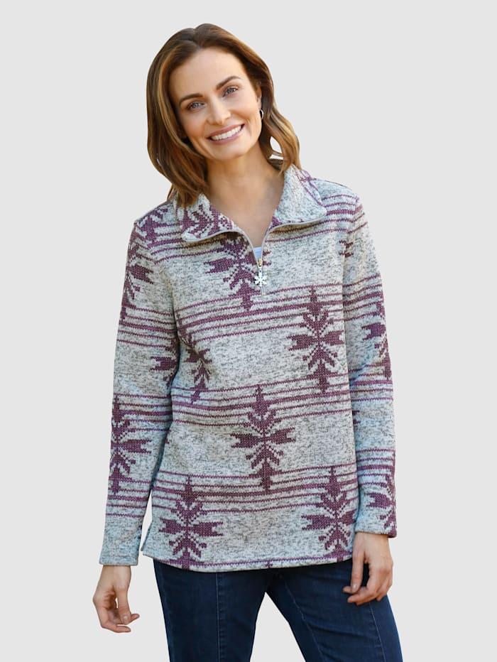 Paola Fleece trui in gebreide look, Grijs/Donkerpaars